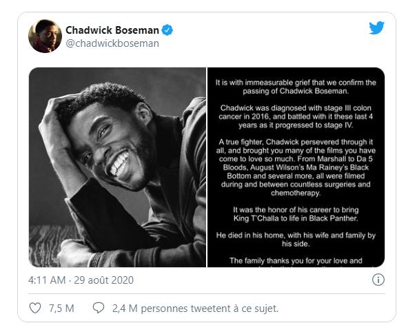 Chadwick Boseman L'acteur de Black Panther est mort
